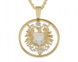 "German Eagle Coin Pendant and Necklace, German 10 Pfenning Coin Hand Cut, 14 Karat Gold and Rhodium Plated, 3/4"" in Diameter ( # 112 )"
