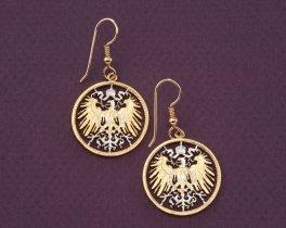 German Eagle Earrings, German Coin Jewelry, Eagle Earrings, Ethnic Earrings , Coin Earrings, Germany Coin Earrings,  Womans Gifts ( # 114E )