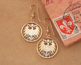 German Eagle Earrings, German Eagle Jewerly, German Coin Jewelry, Ethnic Jewelry, Coin Jewelry, Cut Coin Jewelry, Womans Gifts, ( # 766E )