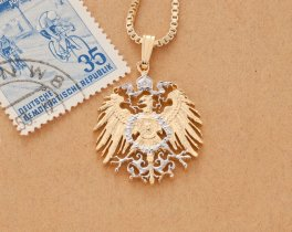 """German Eagle Pendant and Necklace, German 3 Mark Coin Hand Cut, 14 Karat Gold and Rhodium Plated, 1"""" in Diameter, ( # 121 )"""