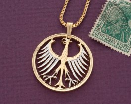 "German Eagle Pendant and Necklace, German 5 Mark Eagle coin Hand Cut, 14 Karat Gold and Rhodium Plated, 1 1/8"" in Diameter, ( # 116 )"