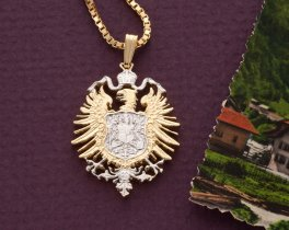"""German Eagle Pendant and Necklace, German Five Mark Eagle Coin Hand Cut, 14 Karat Gold and Rhodium Plated, 1 1/8"""" in Diameter, ( # 880 )"""