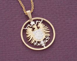 "German Eagle Pendant and Necklace, Germany 1 Mark Eagle Coin hand Cut,14 Karat Gold and Rhodium Plated, 7/8"" in Diameter, ( # 115 )"