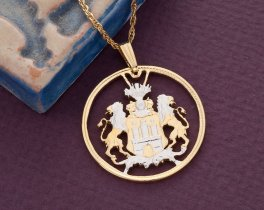 "German Pendant and Necklace Jewelry, German 2 Mark Coin hand Cut, 14 Karat Gold and Rhodium Plated, 1 1/8"" in Diameter, ( # 414 )"