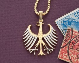 "Germany Eagle Pendant and Necklace, German Five Mark coin Hand Cut, 14 Karat Gold and Rhodium Plated, 1 1/8 "" in Diameter, ( # 122 )"