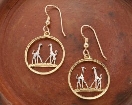 "Giraffe Earrings, Rhodesia 1/5 Penny Giraffe Coin Hand Cut, 14 K Gold and Rhodium plated, 14 K Gold Filled Wires 3/4"" in Diameter,( # 266E )"