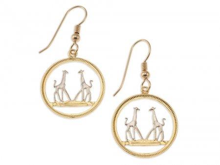 "Giraffe Earrings, Rhodesia 1/5 Penny Giraffe Coin Hand Cut, 14 K Gold and Rhodium plated, 14 K Gold Filled Wires 3/4"" in Diameter,( # 266E )"