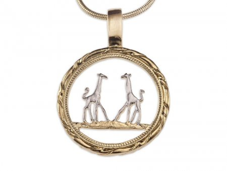"Giraffe Pendant and Necklace, Rhodesia Giraffe Penny Hand Cut, 14 Karat Gold and Rhodium Plated, 7/8"" in Diameter, ( # 891 )"