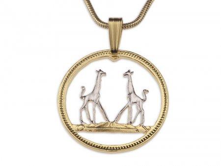 Giraffe Pendant & Necklace, Hand pierced Rhodesia coin, ( # 266 )
