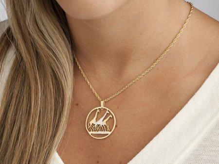 Giraffe Pendant & Necklace, Hand pierced Tanzania Coin . Tanzania Coin Hand Cut , ( # 380 )