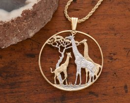 Giraffe Pendant & Necklace, Zambia Coin Hand Cut African Wildlfe, ( # 894 )