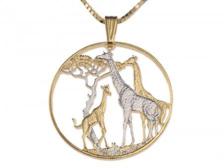 Giraffe Pendant & Necklace, Zambia Coin Hand Cut African Wildlfe, ( # 894 )