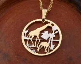 "Giraffes Pendant and Necklace, Mozambique coin Hand Cut, 14 Karat Gold and Rhodium Plated, 1 1/8"" in Diameter, ( # 647 )"