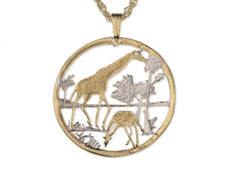 """Giraffes Pendant and Necklace, Mozambique coin Hand Cut, 14 Karat Gold and Rhodium Plated, 1 1/8"""" in Diameter, ( # 647 )"""