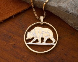 "Golden Grizzley Pendant and Necklace, United States Half Dollar Hand Cut, 14 K Gold and Rhodium Plated, 1 1/8"" in Diameter, ( # 382 )"