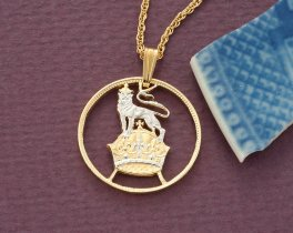 "Great Britain Lion Pendant and Necklace, British Shilling coin hand Cut, 14 Karat Gold and Rhodium Plated, 1"" in Diameter, ( # 133 )"