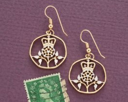 "Great Britain Royal Crown Earrings, British 20 Pence Hand Cut Coin, 14 K Gold and Rhodium Plated, 7/8"" in Diameter, ( # 131E )"