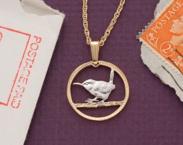 "Great Britain ( Wren ) Farthing Pendant and Necklace, British Farthing Hand Cut,14 Karat Gold and Rhodium Plated, 3/4"" in Diameter,( # 127 )"