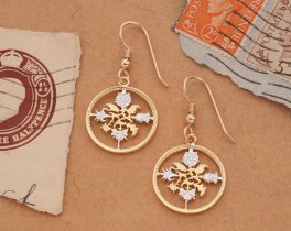 "Great Britian Six Pence Earrings, British Six Pence Coin Hand Cut, 14 K Gold and Rhodium plated, 3/4"" in Diameter ( # 130E )"
