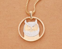 "Great Horned Owl Pendant and Necklace, Canada 50 cents Coin Hand Cut, 14 Karat Gold and Rhodium Plated, 1"" Diameter, ( # 737 )"