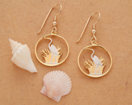 "Great White Heron Earrings, Malawi Coin Hand Cut, 14 Karat Gold and Rhodium Plated, 3/4"" in Diameter, 14 K Gold Filled Ear Wires, ( # 231E )"