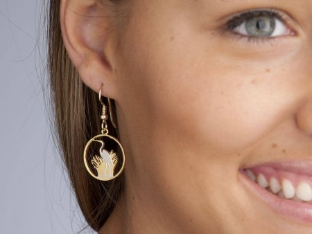 """Great White Heron Earrings, Malawi Coin Hand Cut, 14 Karat Gold and Rhodium Plated, 3/4"""" in Diameter, 14 K Gold Filled Ear Wires, ( # 231E )"""