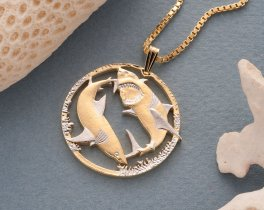 Great White Shark Pendant and Necklace, Australian Five dollar coin. ( # 648 )