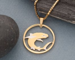 """Great White Shark Pendant and Necklace Jewelry, Soloman Island Shark Coin hand Cut, 14K and Rhodium Plated, 1' """" in Diameter, ( # 671 )"""