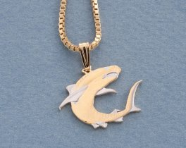 """Great White Shark Pendant and Necklace, Soloman Islands Shark Coin Hand Cut, 14 Karat Gold and Rhodium Plated, 3/4"""" in Diameter, ( # 671B )"""