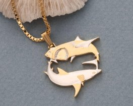 """Great White Sharl Pendant and Necklace, Australian 5 Dollar Shark Coin Hand Cut,14 Karat Gold and Rhodium Plated,1"""" in Diameter, ( # 648B )"""