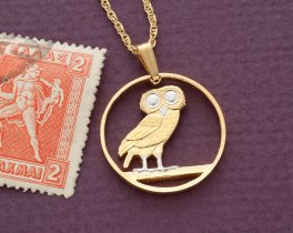 "Greek Athena Owl Pendant and NecklaceGreek 2 Draxmaim Owl Coin Hand Cut, 14 Karat Gold and Rhodium Plated. 7/8"" in Diameter, ( # 143 )"