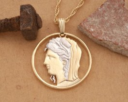 Greek Coin Jewelry, Greek Mythology Jewelry, Greek Pendant Necklace, Ethnic Jewelry, Coin Jewelry, Jewelry Coin, Greek God Diana , ( # 898 )