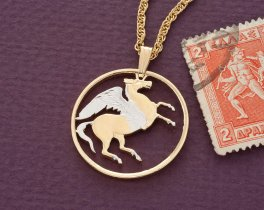"Greek Pegasus Pendant and Necklace Jewelry, Greek 10 Draxmai coin Hand Cut and plated in 14 K Gold and Rhodium,1"" in Diameter, ( # 144 )"