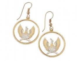 "Greek Phoenix Earrings, Greek Two Draxmai Coin Hand Cut, 14 Karat Gold and Rhodium plated, 14 K G/F Era Wires, 7/8"" in Diameter, ( # 861E )"