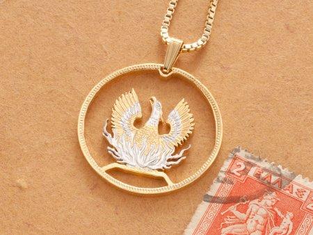 "Greek Phoenix Pendant and Necklace, Hand Cut Greek Phoenix Coin, Greek Mythology Jewelry, 1 1/4"" in Diameter, ( # 924 )"