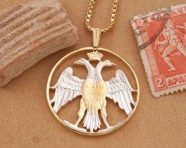 Greek Phoenix Pendant Necklace, Greek Coin Jewelry, Greek Jewelry, Ethnic Jewelry, Phoenix Pendant, Jewelry For Him, Unique Gifts ,( # 902 )