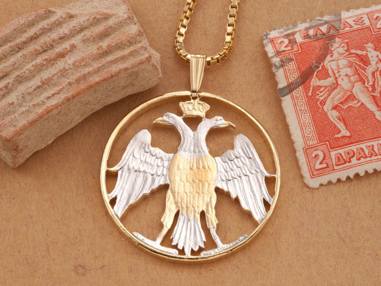 1 18/' in diameter, # 902 Greek Phoenix Pendant Greek hand cut coin