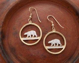 "Green Polar Bear Earrings, Greenland 25 Ore Polar Bear Coin Hand Cut, 14K Gold and Rhodium Plated, 7/8"" in Diameter, ( # 150e)"