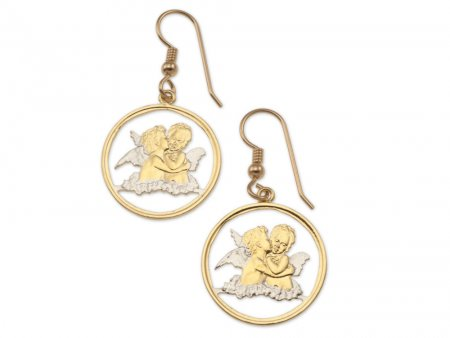 "Guardian Angel Earrings, Gibralter Guardian Angel Coins Hand Cut, 14 Karat Gold and Rhodium Plated, 3/4"" in Diameter, ( # 635E )"