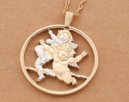 "Guardian Angel Pendant, Angel Jewelry, Religious Jewelry, Cherub Jewelry, 1 1/2"" in diameter, ( # 715D )"