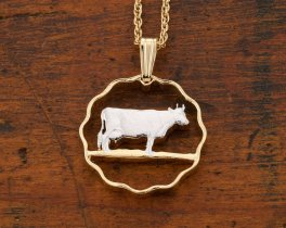 "Guernsey Cow Pendant and Necklace, Guernsey 3 Pence Coin Hand Cut, 14 K Gold and Rhodium Plated, 3/4"" in Diameter, ( # 153 )"