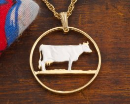 Guernsey Cow Pendant, Guernsey Cow Jewelry, Farm Animal Gifts, Cow Necklace, Gifts For Woman, Cut Coin Jewelry, Coin Jewelry, ( # 453 )