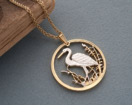 """Heron Pendant and Necklace, Russian Wildlife series Bird Coin Hand Cut, 14 Karat Gold and Rhodium Plated, 1 1/4"""" in Diameter, ( # 494 )"""