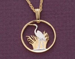 Heron Pendant & Necklace, Malawi Five Tambala Coin hand Cut, ( # 231 )
