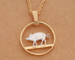 "Hog Penny Pendant and Necklace, Bermuda Coin Jewelry, Coin Jewelry, Ethnic Jewelry, Wildlife Jewelry,  3/4"" in Diameter, ( # 34 )"