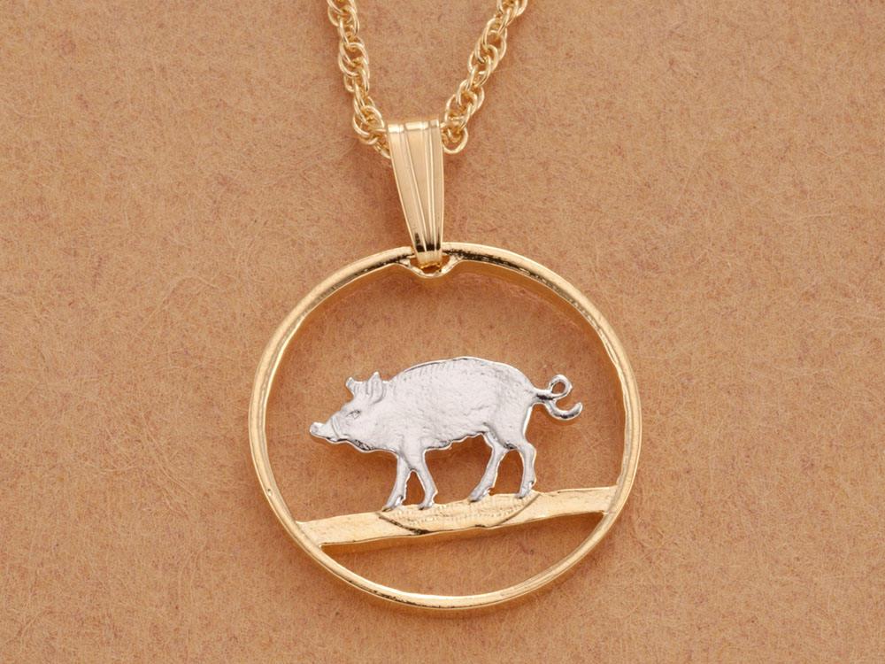 Bermuda Pig Sow Hog 1 Cent 1971 Islands Antique Silver Tone 20mm Bezel Coin Pendant Jewelry Necklace Neckchain