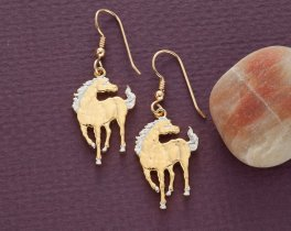 "Horse Earrings, Island of Macao Horse Coin Hand Cut, 14 Karat Gold and Rhodium plated, 14K G/F Wires, 7/8"" in Diameter, ( # 645BE )"