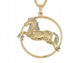 "Horse Pendant and Necklace, Chinese Year Of The Horse Coin Hand Cut, 14 K Gold and Rhodium plated, 1 1/4"" in Diameter, ( # 556 )"