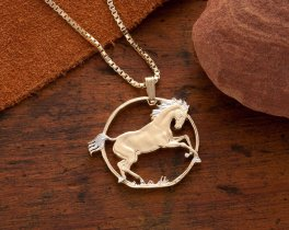"Horse Pendant and Necklace, Hand cut Horse coin pendant, Equestrian Jewelry, Rearing horse pendant, 1 1/8"" diameter, ( # 781 )"