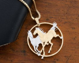 "Horse Pendant and Necklace, Isle Of Man Year Of The Horse Coin Hand Cut, 14 Karat Gold and Rhodium Plated, 1 1/4"" in Diameter, ( # 780 )"